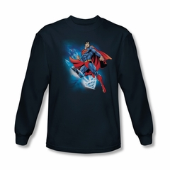 Superman Shirt Crystallize Long Sleeve Navy Tee T-Shirt