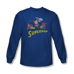 Superman Shirt Distresed Long Sleeve Royal Tee T-Shirt