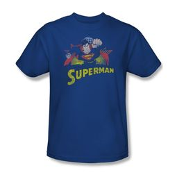 Superman Shirt Distresed Royal T-Shirt