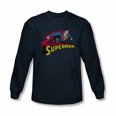 Superman Shirt Flying Over Long Sleeve Navy Tee T-Shirt