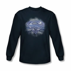 Superman Shirt Flying Shield Long Sleeve Navy Tee T-Shirt