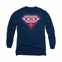 Superman Shirt For President Long Sleeve Navy Tee T-Shirt
