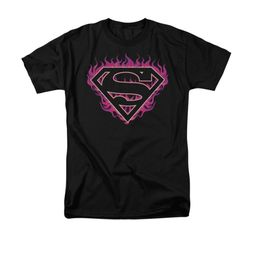 Superman Shirt Fuchia Flames Black T-Shirt