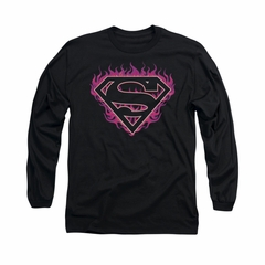 Superman Shirt Fuchia Flames Long Sleeve Black Tee T-Shirt