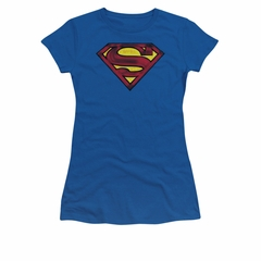 Superman Shirt Juniors Charcoal Shield Royal Blue T-Shirt