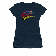 Superman Shirt Juniors Flying Over Navy T-Shirt