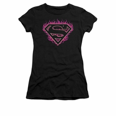 Superman Shirt Juniors Fuchia Flames Black T-Shirt