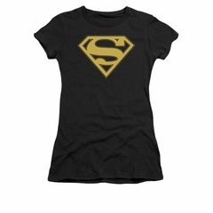Superman Shirt Juniors Gold Shield Black T-Shirt