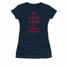 Superman Shirt Juniors Keep Calm Navy T-Shirt