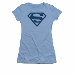 Superman Shirt Juniors Navy Shield Carolina Blue T-Shirt