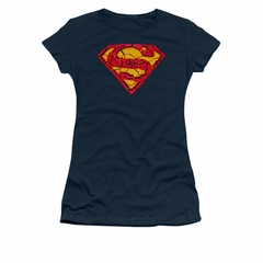 Superman Shirt Juniors Shattered Shield Navy T-Shirt