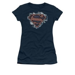 Superman Shirt Juniors Storm Clouds Navy T-Shirt
