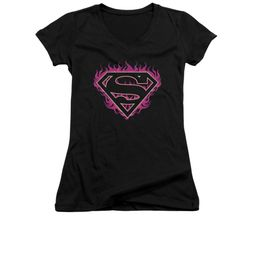 Superman Shirt Juniors V Neck Fuchia Flames Black T-Shirt