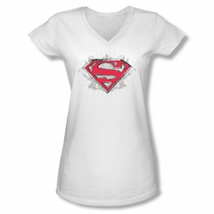 Superman Shirt Juniors V Neck Hastily Drawn White T-Shirt