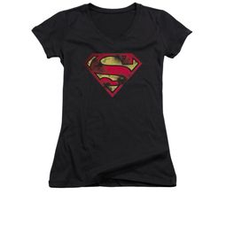 Superman Shirt Juniors V Neck War Torn Shield Black T-Shirt