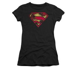 Superman Shirt Juniors War Torn Shield Black T-Shirt