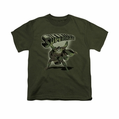 Superman Shirt Kids Camo Colored Military Green T-Shirt