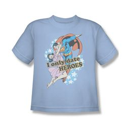 Superman Shirt Kids Date Heroes Light Blue T-Shirt