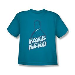 Superman Shirt Kids Fake Nerd Turquoise T-Shirt
