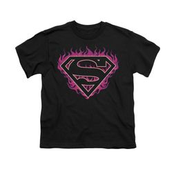 Superman Shirt Kids Fuchia Flames Black T-Shirt