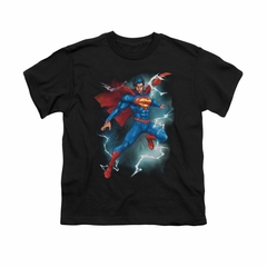 Superman Shirt Kids Lightning Black T-Shirt