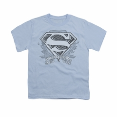 Superman Shirt Kids Sketchy Crest Light Blue T-Shirt