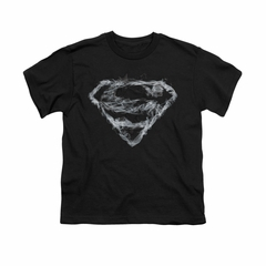 Superman Shirt Kids Smoke Shield Black T-Shirt