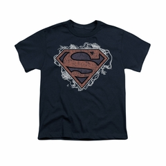 Superman Shirt Kids Storm Clouds Navy T-Shirt