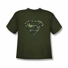 Superman Shirt Kids Super Camo Shield Olive T-Shirt