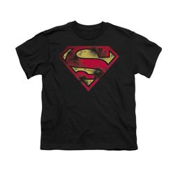 Superman Shirt Kids War Torn Shield Black T-Shirt