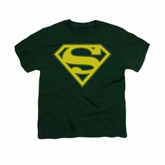 Superman Shirt Kids Yellow Shield Hunter Green T-Shirt