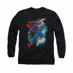 Superman Shirt Lightning Long Sleeve Black Tee T-Shirt