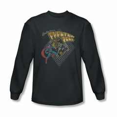 Superman Shirt Phantom Zone Long Sleeve Charcoal Tee T-Shirt