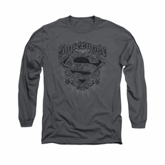Superman Shirt Scrolling Shield Long Sleeve Charcoal Tee T-Shirt