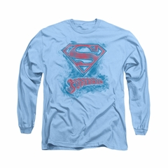 Superman Shirt Sketchy Long Sleeve Carolina Blue Tee T-Shirt