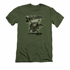 Superman Shirt Slim Fit Camo Colored Military Green T-Shirt