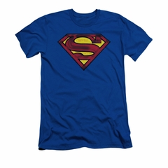 Superman Shirt Slim Fit Charcoal Shield Royal Blue T-Shirt