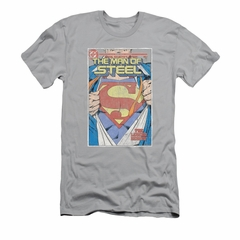 Superman Shirt Slim Fit Comic No.1 Silver T-Shirt
