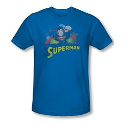 Superman Shirt Slim Fit Distresed Royal T-Shirt