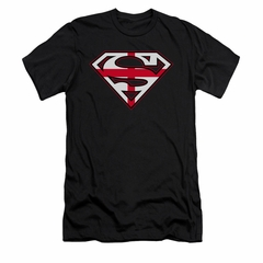 Superman Shirt Slim Fit English Shield Black T-Shirt