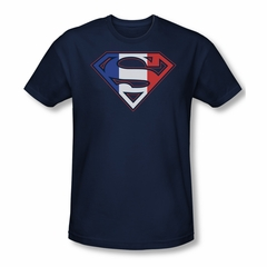 Superman Shirt Slim Fit French Shield Navy T-Shirt