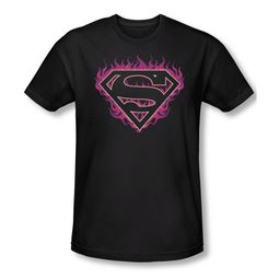 Superman Shirt Slim Fit Fuchia Flames Black T-Shirt