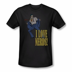 Superman Shirt Slim Fit Love Nerds Black T-Shirt