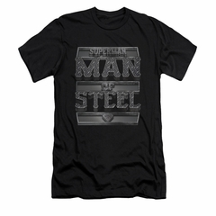 Superman Shirt Slim Fit Steel Text Black T-Shirt