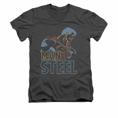 Superman Shirt Slim Fit V-Neck Colored Lines Charcoal T-Shirt