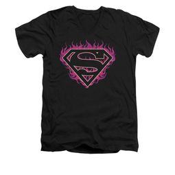Superman Shirt Slim Fit V-Neck Fuchia Flames Black T-Shirt
