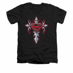 Superman Shirt Slim Fit V-Neck Gothic Cross Black T-Shirt