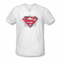 Superman Shirt Slim Fit V-Neck Hastily Drawn White T-Shirt