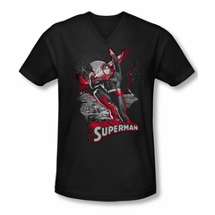 Superman Shirt Slim Fit V-Neck Red & Gray Black T-Shirt