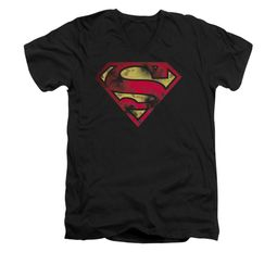 Superman Shirt Slim Fit V-Neck War Torn Shield Black T-Shirt